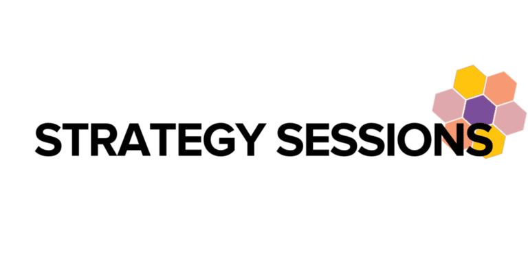 """""""Strategy Sessions"""" in black text over WOSEN honeycomb shape"""
