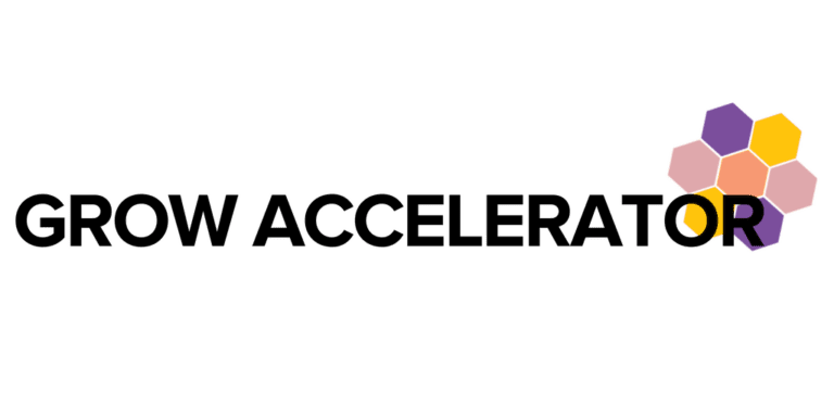 """""""Grow Accelerator"""" in black text over WOSEN honeycomb shape"""