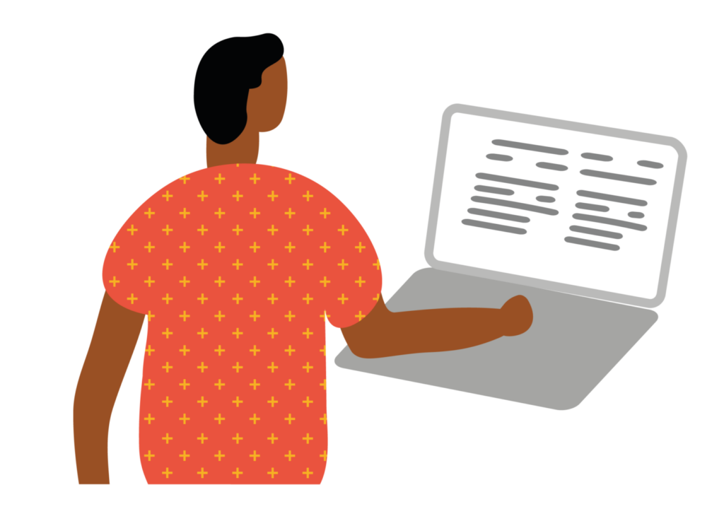 Illustration of person using a laptop