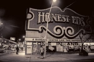 The outside of the Honest Ed's building